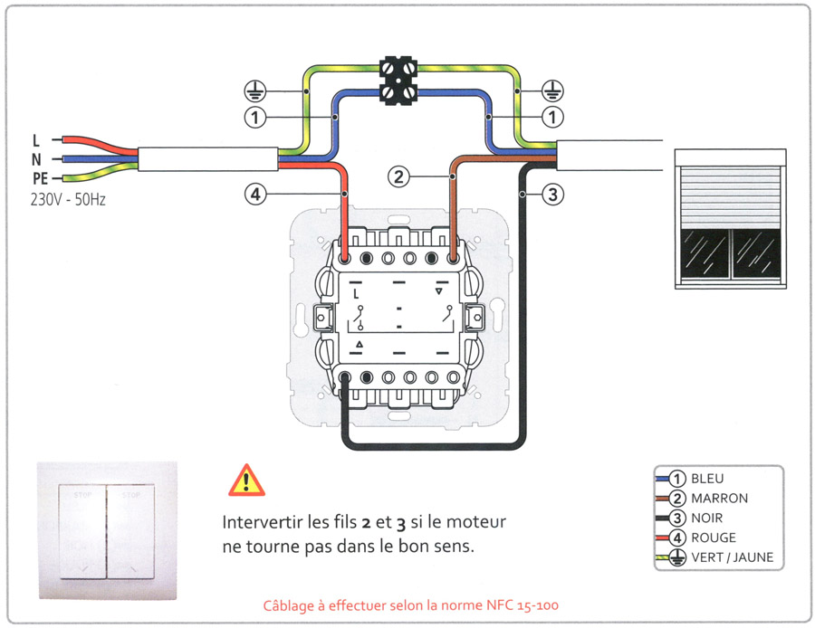 Notices de c blage branchement de volets roulants for Volet roulant electrique garage