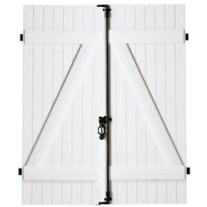 volet battant pvc blanc 2 vantaux barres et charpes. Black Bedroom Furniture Sets. Home Design Ideas